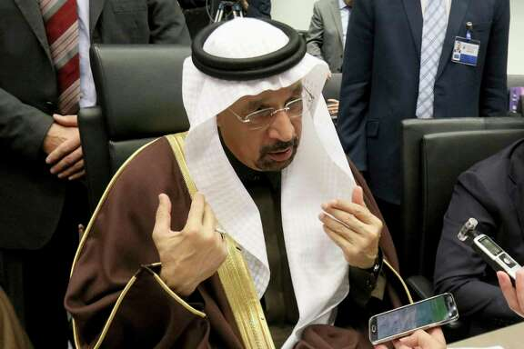Khalid Al-Falih Minister of Energy, Industry and Mineral Resources of Saudi Arabia speaks to journalists prior to the start of a meeting of the Organization of the Petroleum Exporting Countries, OPEC, at their headquarters in Vienna, Austria, Wednesday, Nov. 30, 2016. (AP Photo/Ronald Zak)