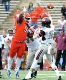 Sam Houston State DE P.J. Hall (92) is tied for 5th in FCS play with 21 tackles for loss, leading to him being awarded Southland Conference defensive player of the year.