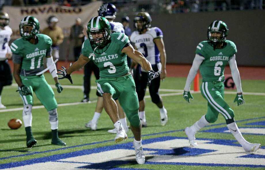 Cuero's Jordan Whittington celebrates after scoring a touchdown against Navarro during first half action of their Class 4A Division II state quarterfinals playoff game held Friday Dec. 2, 2016 at Alamo Stadium. Photo: Edward A. Ornelas, Staff / San Antonio Express-News / © 2016 San Antonio Express-News