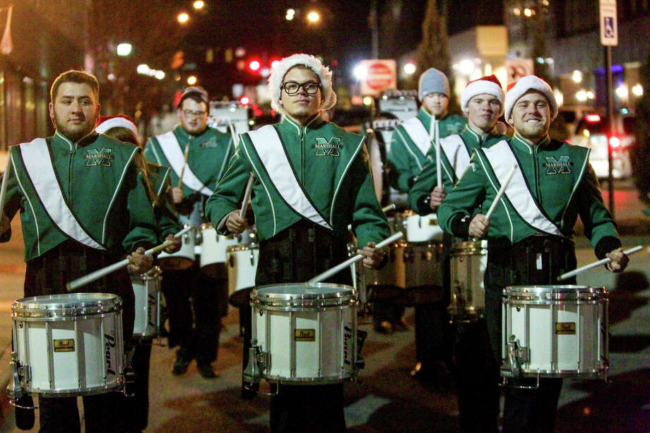"""Marshall University's drum line performs an """"Eleven Drummers Drumming"""" show in Huntington, W.Va. Photo: Bishop Nash, MBI / The Herald-Dispatch"""