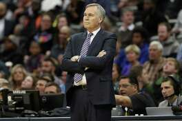 DENVER, CO - DECEMBER 02:  Head coach Mike D'Antoni of the Houston Rockets watches as his team plays the Denver Nuggets at the Pepsi Center on December 2, 2016 in Denver, Colorado. NOTE TO USER: User expressly acknowledges and agrees that , by downloading and or using this photograph, User is consenting to the terms and conditions of the Getty Images License Agreement.