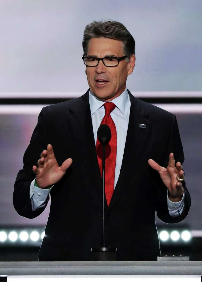 CLEVELAND, OH - JULY 18:  Former Texas Governor Rick Perry delivers a speech on the first day of the Republican National Convention on July 18, 2016 at the Quicken Loans Arena in Cleveland, Ohio. An estimated 50,000 people are expected in Cleveland, including hundreds of protesters and members of the media. The four-day Republican National Convention kicks off on July 18.  (Photo by Alex Wong/Getty Images) Photo: Alex Wong, Staff / 2016 Getty Images
