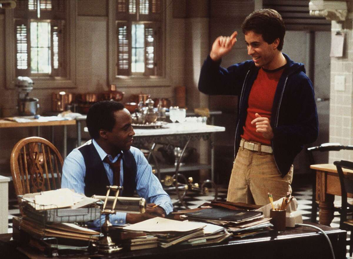 """Jerry Seinfeld, right, and Robert Guillaume during a taping of """"Benson."""""""