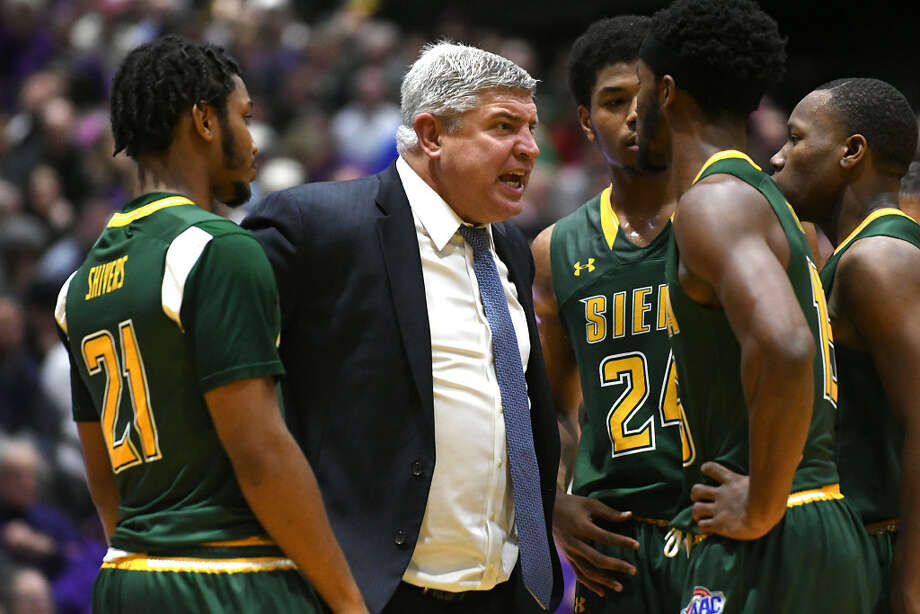 Siena coach Jimmy Patsos was heated in this moment at UAlbany, but said he's stayed positive this season. (Lori Van Buren/Times Union)