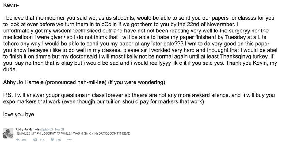 student emails her teacher while high on pain medications