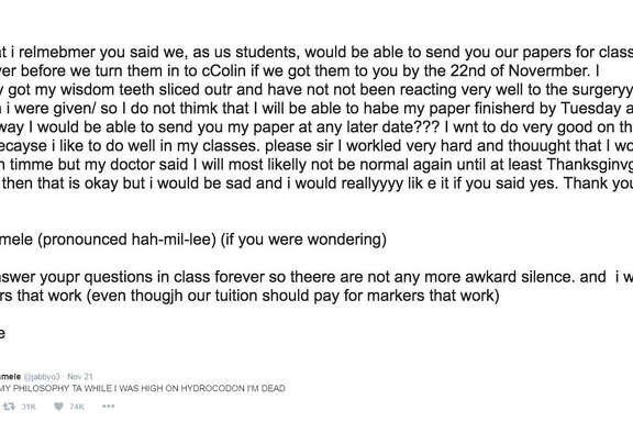 Abby Jo Hamele emailed her TA while high on Hydrocodone, and the results were hilarious.