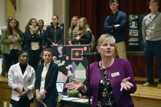 Huether School of Business Dean Suzanne Wilhelm speaks before Saint Rose first year business students show their proposed plans to enliven downtown Albany on Wednesday Nov. 30, 2016 in Albany, N.Y.  (Michael P. Farrell/Times Union)