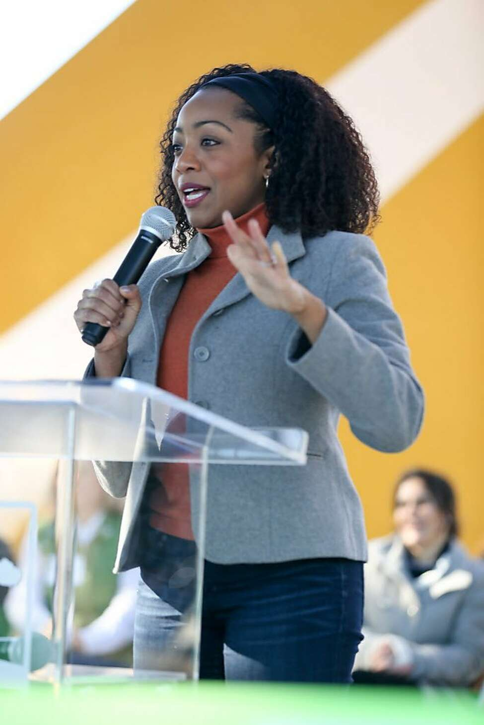 Supervisor Malia Cohen speaks at the Hilltop Park ribbon cutting ceremony in the Bayview neighborhood on Saturday, December 3, 2016.