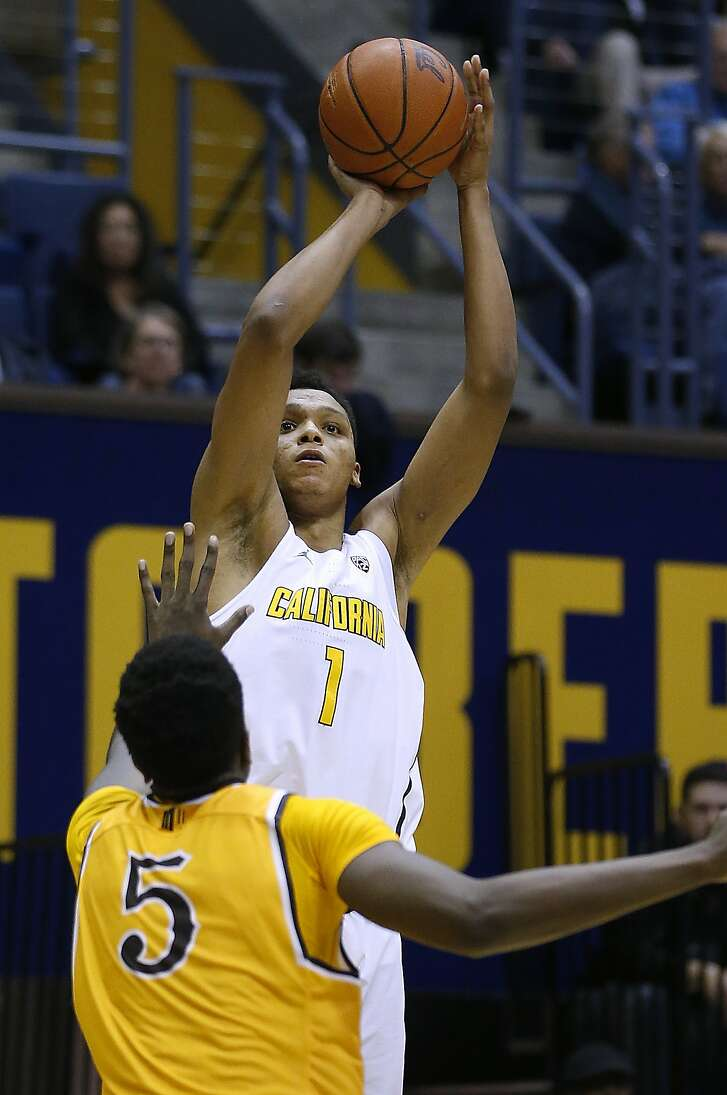 California forward Ivan Rabb (1) shoots over Wyoming forward Alan Herndon (5) during the second half of an NCAA college basketball game Friday, Nov. 25, 2016, in Berkeley, Calif. California won 71-61. (AP Photo/Tony Avelar)