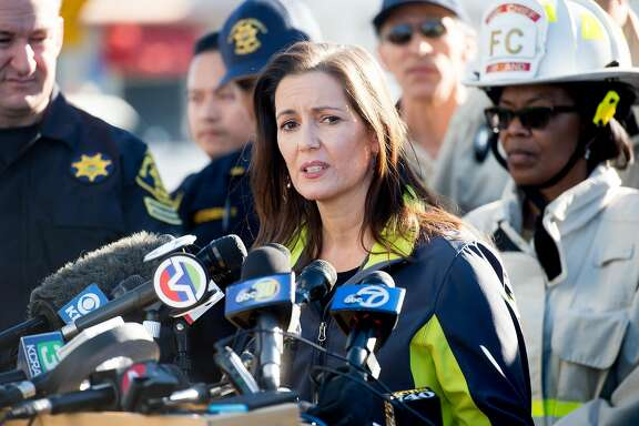 Oakland Mayor Libby Schaaf speaks during a press conference at the scene of a fatal fire in Oakland, Calif., on Saturday, Dec. 3, 2016.