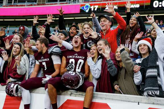 Cinco Ranch receiver Sebastian Cifuentes yells as he celebrates a 34-17 win against Cypress Ridge in the Class 6A Division II state quarterfinals at TDECU Stadium Saturday, Dec. 3, 2016 in Houston.