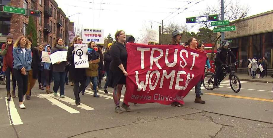Thousands of women took to the streets Saturday in peaceful protest. Photo: KOMO Photo