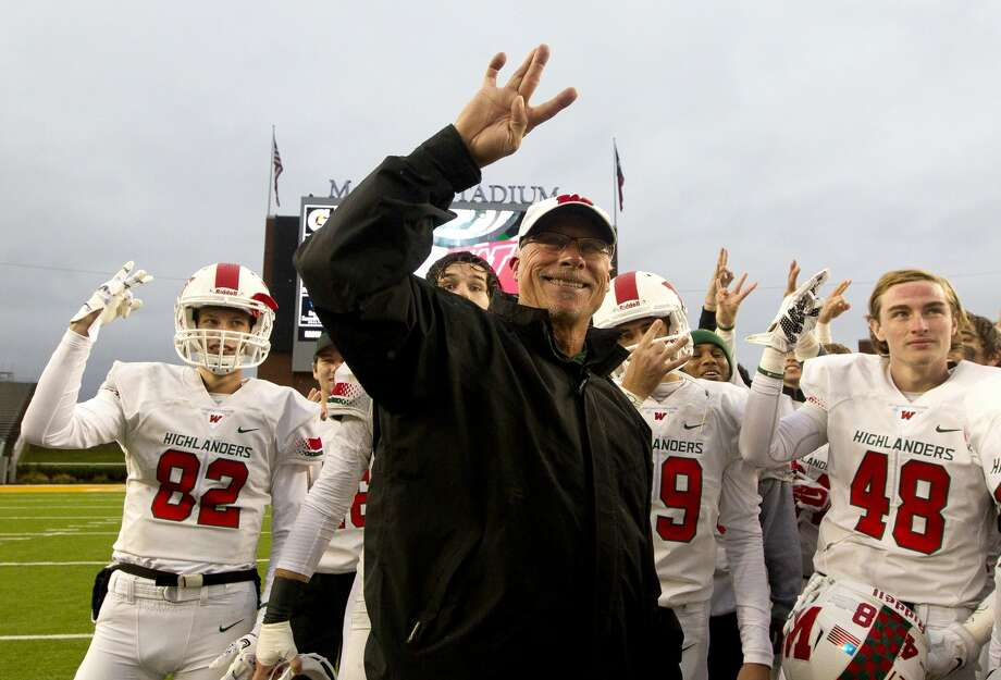 The Woodlands head coach Mark Schmid smiles after the Highlanders' 41-18 win over Round Rock in a Division I Region II-6A final game at McLane Stadium Saturday, Dec. 3, 2016, in Waco. Photo: Jason Fochtman/Houston Chronicle