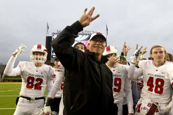 The Woodlands head coach Mark Schmid smiles after the Highlanders' 41-18 win over Round Rock in a Division I Region II-6A final game at McLane Stadium Saturday, Dec. 3, 2016, in Waco.