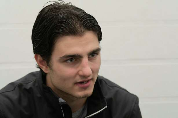 Albany Devil hockey player Joe Blandisi speaks with the Times Union Thursday Dec. 1, 2016 at the Knickerbacker Rink in Troy, N.Y.   (Skip Dickstein/Times Union)