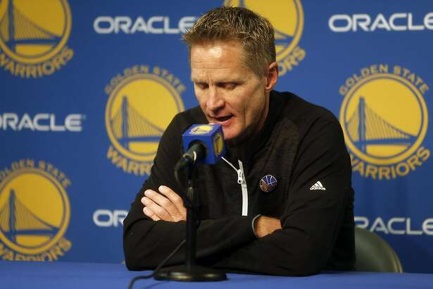 During his pregame press conference, Golden State Warriors' head coach Steve Kerr offers condolences to the families of the victims from the Oakland warehouse fire. Photographed at Oracle Arena in Oakland, Calif., on Saturday, December 3, 2016.