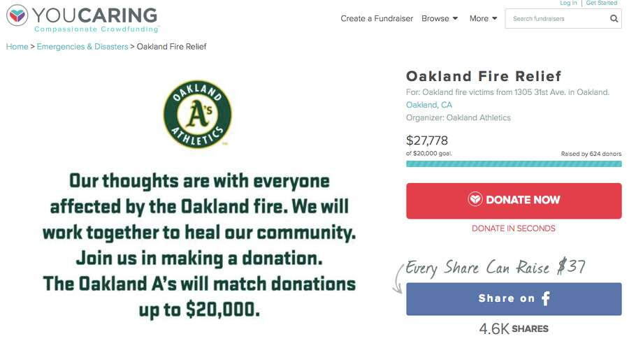 The Oakland A's, You Caring page. Photo: Courtesy Of The Oakland As You Caring Page