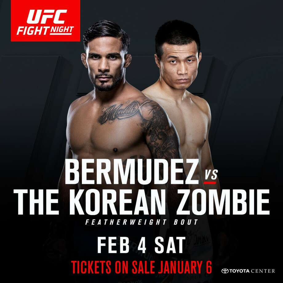 """The UFC is back in Houston on Super Bowl weekend with a hard-hitting event. In the main event, it's the return of """"The Korean Zombie,"""" Chan Sung Jung, who battles featherweight contender Dennis Bermudez in his first bout since completing two years of military service. Photo: UFC"""