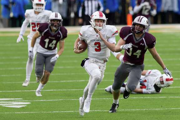 The Woodlands quarterback Eric Schmid, center, was too much to handle for linebacker Grant Miller, right, and his Round Rock teammates, throwing for 247 yards and a touchdown while rushing for 107 yards and three more scores in the Highlanders' 41-18 victory Saturday in Waco.