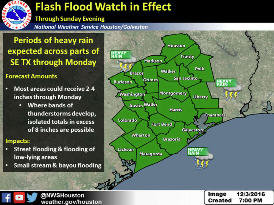 A Flash Flood Watch is in effect for Southeast Texas through Sunday evening with periods of heavy rainfall expected across the region, according to the National Weather Service Saturday. Photo: Submitted Art
