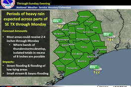 A Flash Flood Watch is in effect for Southeast Texas through Sunday evening with periods of heavy rainfall expected across the region, according to the National Weather Service Saturday.