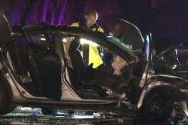 Two children died in a three-car crash Saturday night.