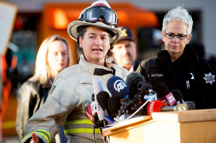 Oakland Fire Battalion Chief Melinda Drayton, who supervised night operations on the Ghost Ship warehouse fire, speaks during a press conference on Sunday, Dec. 4, 2016, in Oakland, Calif.