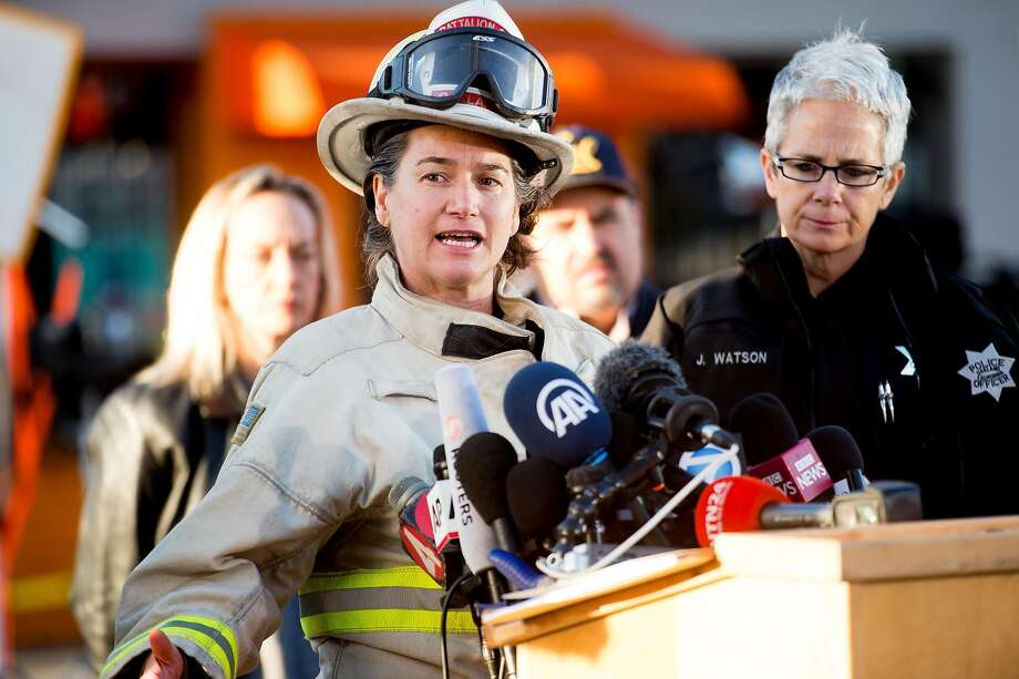 Oakland Fire Battalion Chief Melinda Drayton, who supervised night operations on the Ghost Ship warehouse fire, speaks during a press conference on Sunday, Dec. 4, 2016, in Oakland, Calif. Photo: Noah Berger, Special To The Chronicle