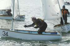 Old Greenwich's Mike Bonaparte sails in the Frostbiting Riverside Dyer Dinghy Association (RDDA) Big Fleet Open at Riverside Yacht Club in the Riverside section of Greenwich, Conn. Sunday, Dec. 4, 2016.