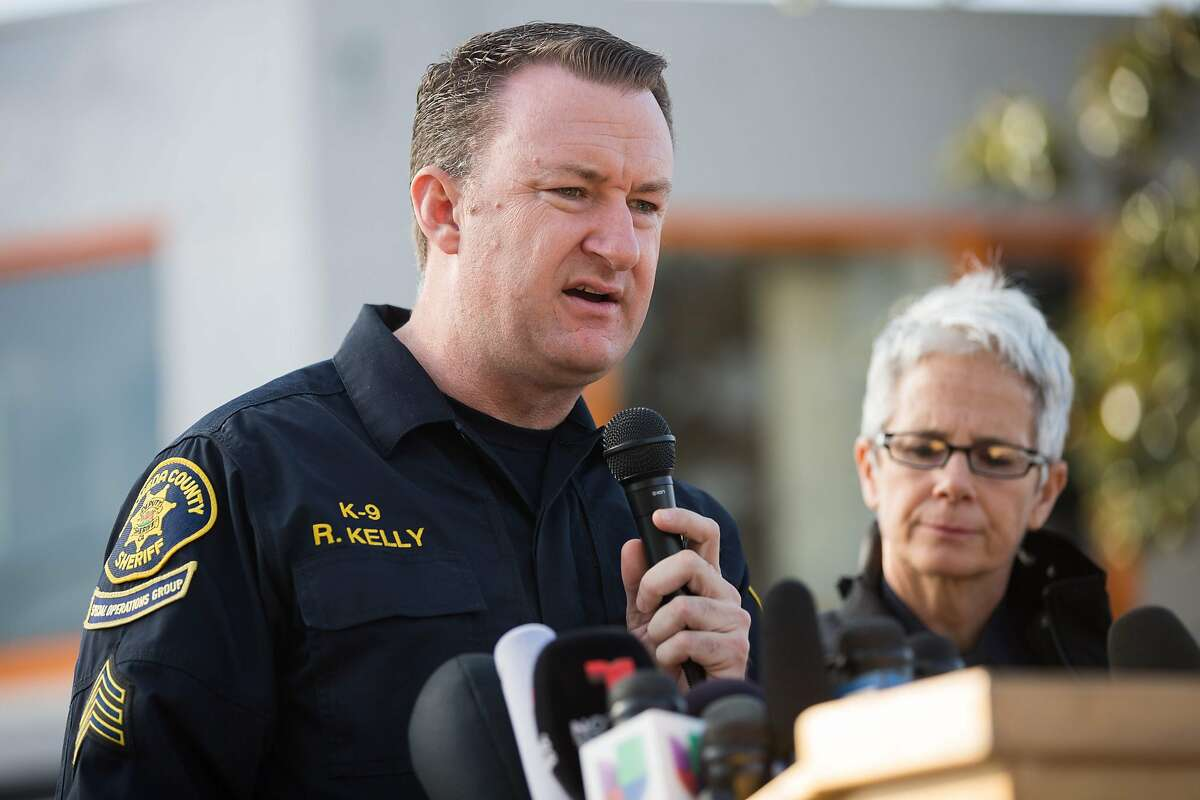Alameda County Sheriff's Office spokesman Sgt. Ray Kelly addresses the media December 4, 2016 in Oakland, California. The death toll from a fire at a California warehouse where a rave party had been taking place rose to 30 on Sunday, authorities said.