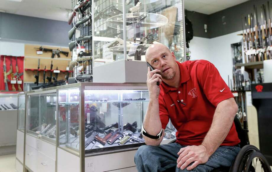 "James Hillin, owner of Full Armor Firearms, knows it is ""my responsibility to make sure we are doing the right thing"" when it comes to selling guns. Photo: Jon Shapley, Staff / © 2015  Houston Chronicle"
