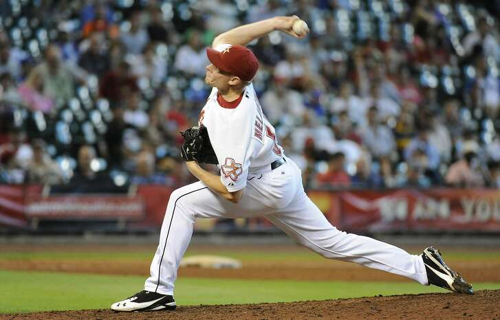 Houston Astros relief pitcher Mark Melancon in a baseball game against the Chicago Cubs Wednesday, Aug. 17, 2011, in Houston. (AP Photo/Pat Sullivan)