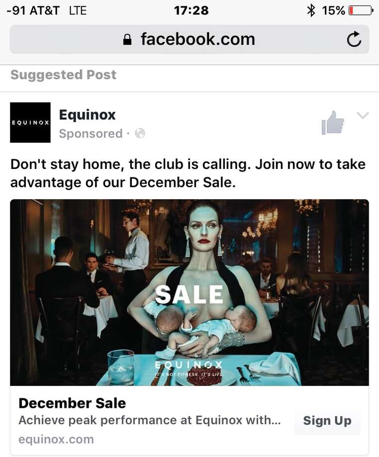 A Equinox gym advertisement is stirring controversy again after it was returned for their December sale. Photo: Facebook Screenshot