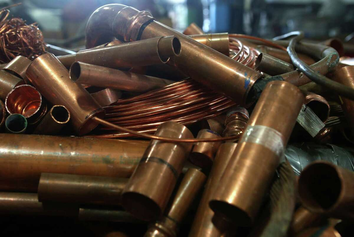 Copper tubing waits to be recycled at South Post Oak Recycling Center, Monday, Nov. 21, 2016, in Houston. ( Mark Mulligan / Houston Chronicle )