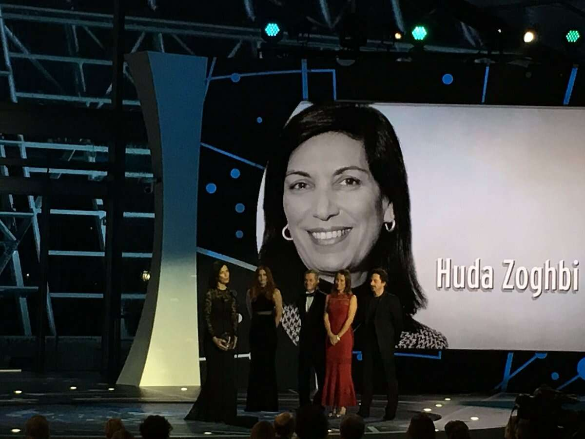 Dr. Huda Zoghbi accepts her Breakthrough Prize at an award ceremony in Silicon Valley, Sunday, Dec. 4, 2016.