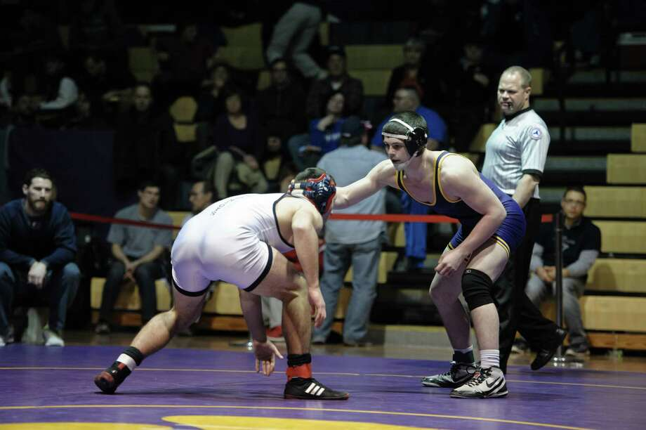 Tyler Barnes of Ballston Spa goes against Collin Deborghossian of Schenectady during the High School Wrestling finals held at Ballston Spa High School Saturday, February 6th, 2016. (Eric Jenks/ Special to the Times Union) Photo: Eric Jenks / Eric Jenks 2015