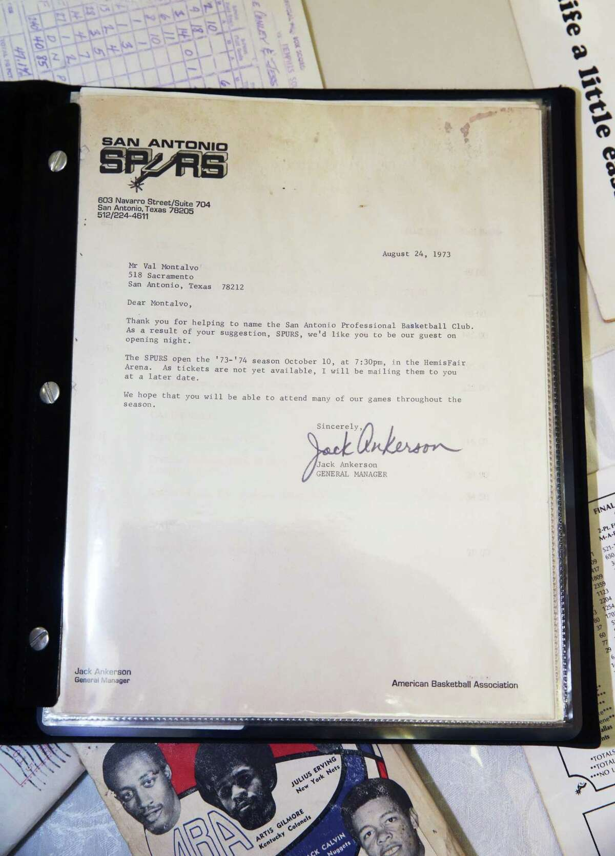 Letter sent to the late Val Montalvo informing he was the winner of S.A.'s ABA name-the-team contest.