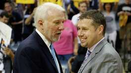 Dave Joreger (right) credits the Spurs' Gregg Popovich for helping to jump-start his NBA coaching career.