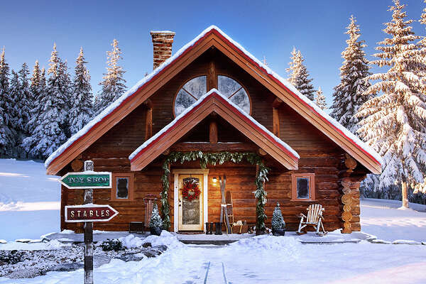 Showing the festive side of real estate, the real estate website Zillow has a listing for Santa's House at the North Pole. The 25-acre property includes a toy workshop and stables for eight live-in reindeer. ( Zillow )
