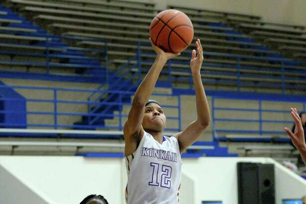 NaKeeya McCardell (12) of Kinkaid attempts a jump shot in the first half of a girls basketball game between the Kinkaid Falcons and the Northside Panthers during the Houston ISD Tournament on Dec. 1 at The Pavilion.