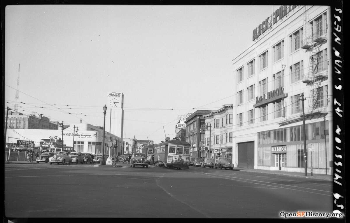 Mission and South Van Ness 1946, 14-Line Muni #959, looking east down Mission, Coca Cola bottling plant, tower seen near the center of the photo. Courtesy of OpenSFHistory.org.