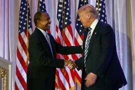 Dr. Ben Carson endorses Republican presidential candidate Donald Trump at Trump's resort Mar-a-Lago on March 11, 2016 in Palm Beach, Fla. Trump has chosen Carson to run the Department of Housing and Urban Development. (Carolyn Cole/Los Angeles Times/TNS)