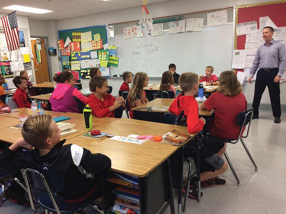 U.S. Representative Rodney Davis answers questions Thursday in Matt Maddox's fifth-grade class at Columbus Elementary School.