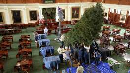 A Christmas tree is raised Tuesday, Nov. 29, 2016 in the senate chambers of the Texas capitol.