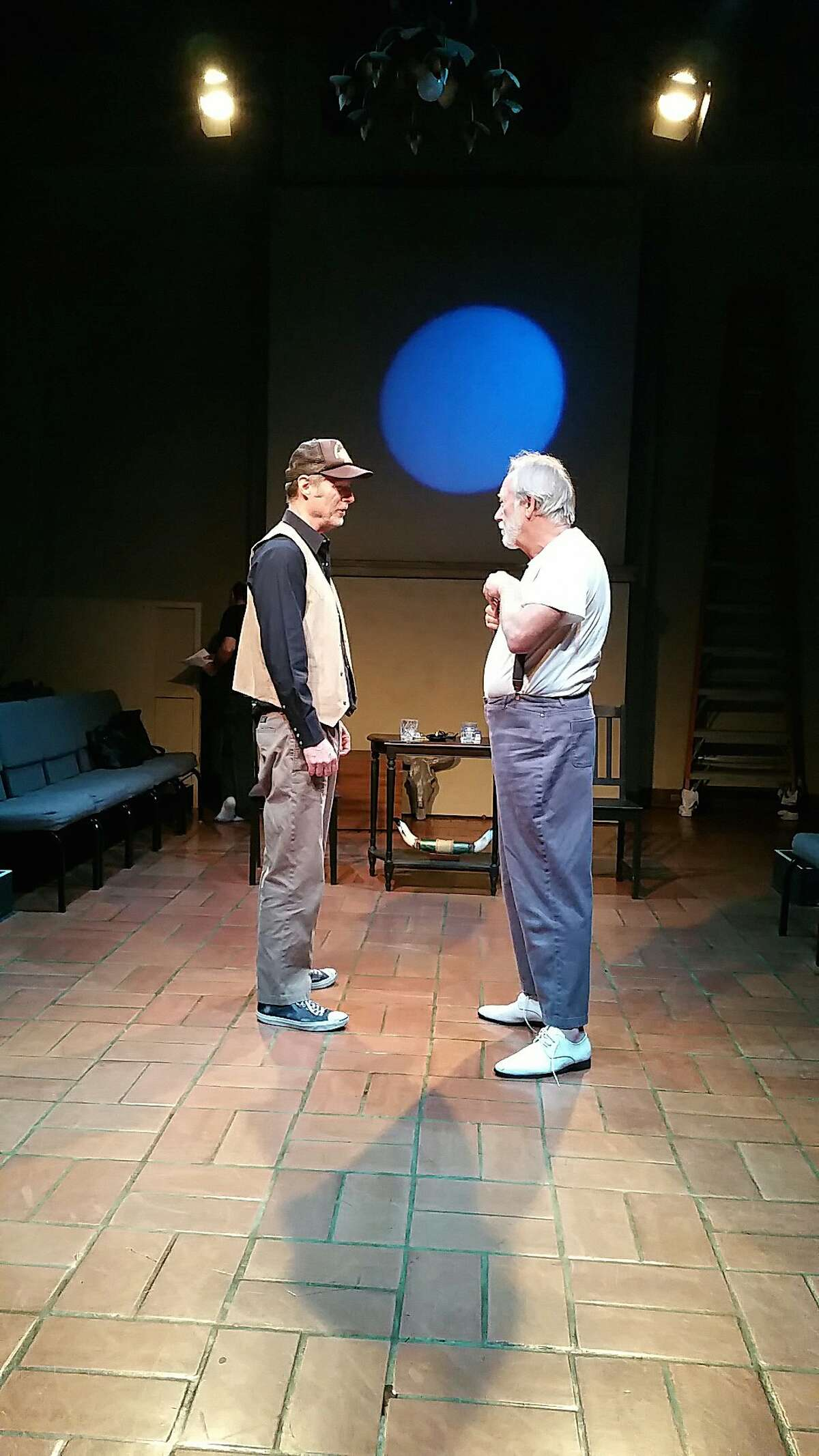 """Byron (Don Wood, left) and Ames (David Cramer) in Anton's Well Theater Company's """"Ages of the Moon."""""""