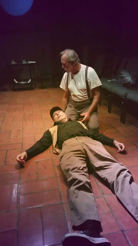 "Byron (Don Wood, lying down) and Ames (David Cramer) in Anton's Well Theater Company's ""Ages of the Moon."" Photo: Wm. Diedrick Razo, Anton's Well Theater Company"
