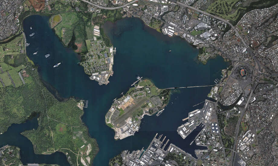 Now:A Google Maps aerial 2016 photo of Pearl Harbor in Honolulu, Hawaii. In the center is Ford Island. Photo: Google Maps