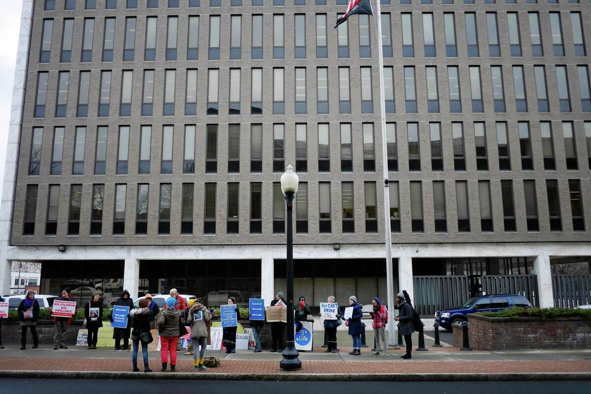 Supporters of the protestors at the Standing Rock Reservation who are opposing the oil pipeline, hold a rally outside the Leo O'Brien Federal Building on Monday, Dec. 5, 2016, in Albany. (Paul Buckowski / Times Union)