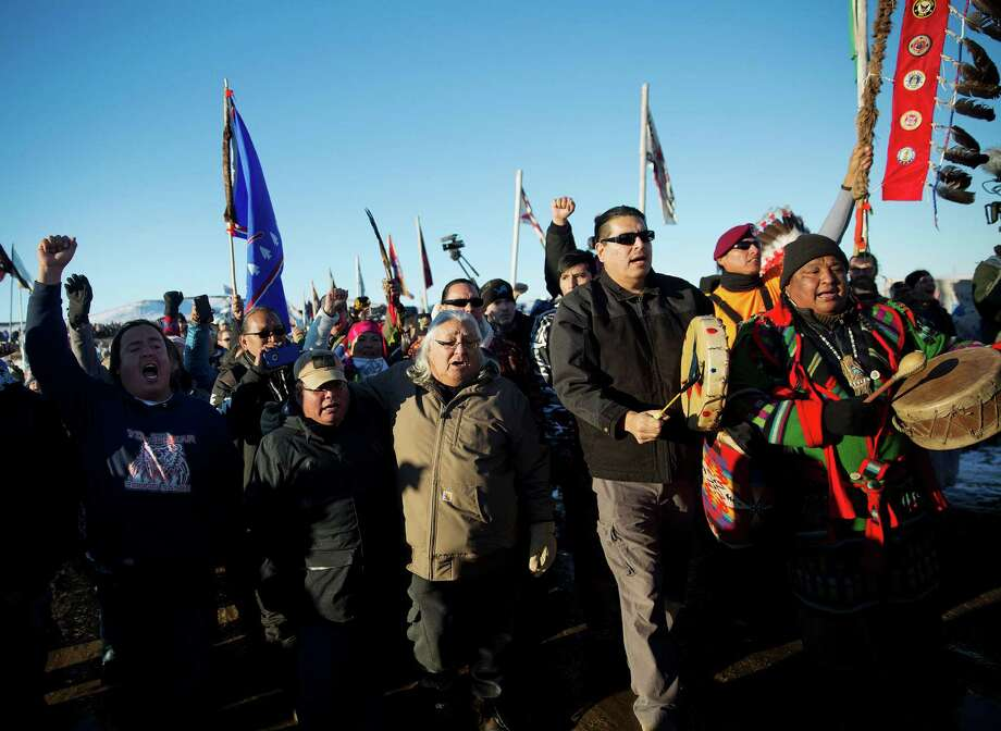 Oceti Sakowin camp where people have gathered to protest the Dakota Access oil pipeline in Cannon Ball, N.D., Sunday, Dec. 4, 2016. (AP Photo/David Goldman) Photo: David Goldman, STF / Copyright 2016 The Associated Press. All rights reserved.