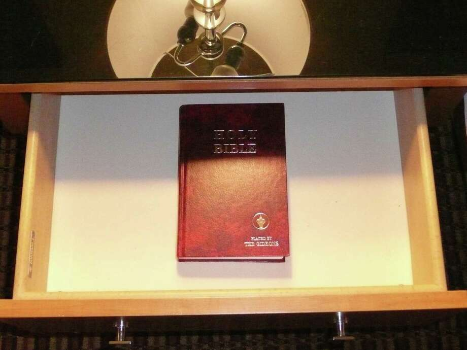 A Gideon Bible where it's often found, in a hotel nightstand.  Photo: Neil Munshi, COLUMBIA NEWS SERVICE